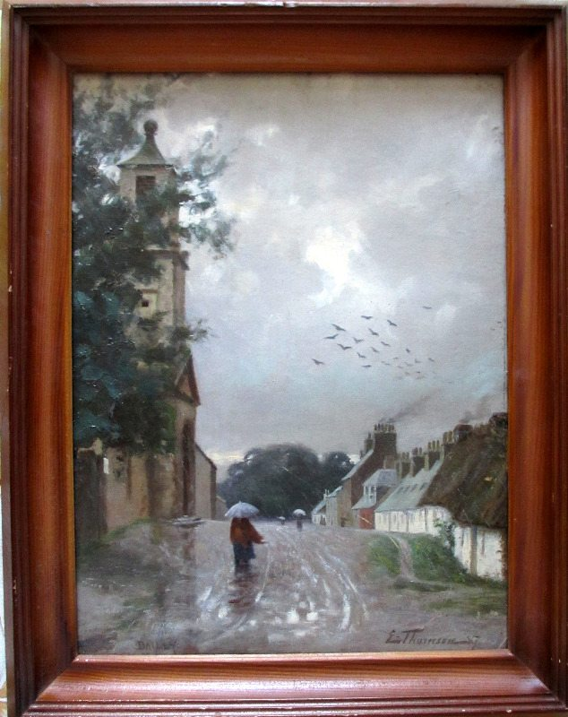 Dailly Village, South Ayrshire, oil on board, signed L Thomson 87.