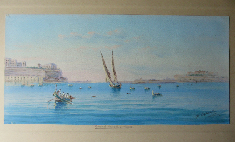 Grand Harbour Malta, gouache on paper, signed D'Esposito, c1900.