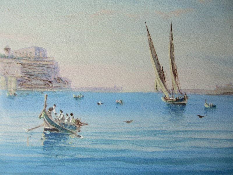 Grand Harbour Malta, gouache on paper, signed D'Esposito, c1900. Detail.
