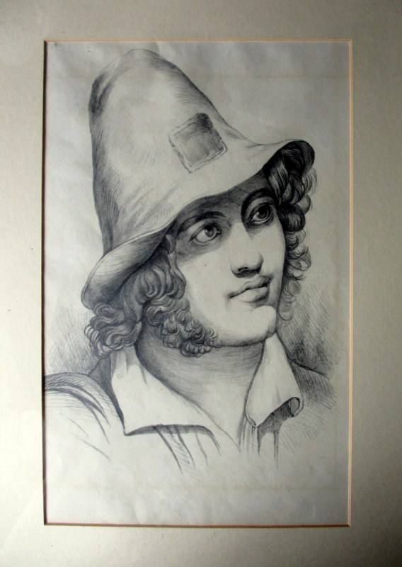 Portrait study of an Italian Peasant Boy, pencil on paper, c1900.