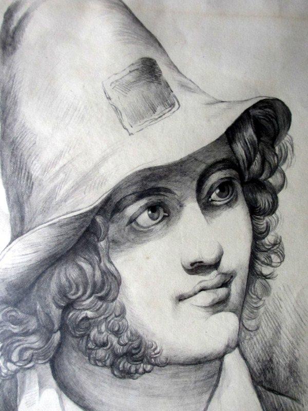 Portrait study of an Italian Peasant Boy, pencil on paper, c1900. Detail.