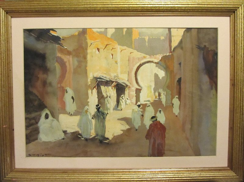 North African Street Scene, watercolour and gouache on paper, signed Schmidt. c1930. Framed, unglazed. SOLD.