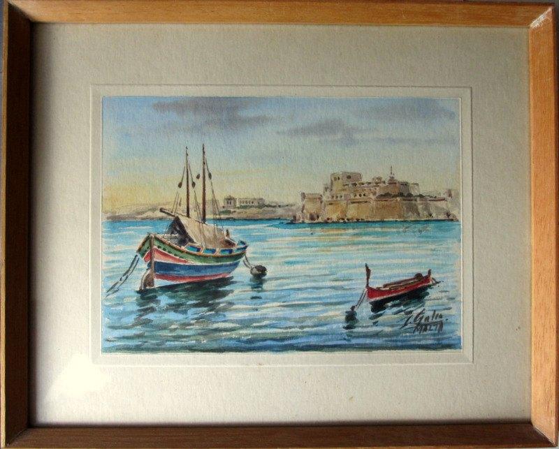 Grand Harbour Malta, watercolour, set of 4 paintings, signed J. Galea Malta, c1950.