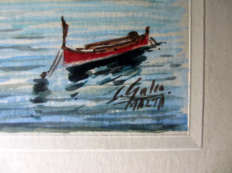 Grand Harbour Malta, watercolour, set of 4 paintings, signed J. Galea Malta, c1950. Signature.
