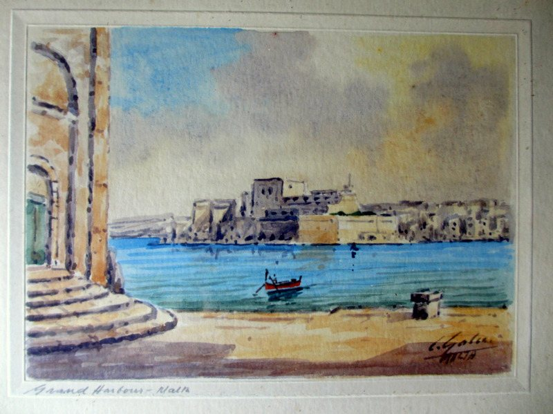 Grand Harbour from Customs House, watercolour, signed J. Galea Malta, c1950.