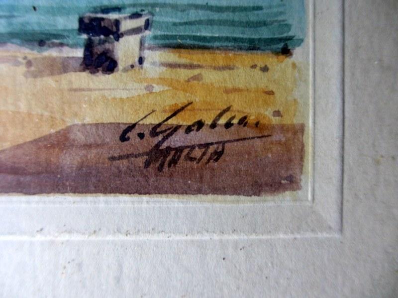 Grand Harbour from Customs House, watercolour, signed J. Galea Malta, c1950. Signature.
