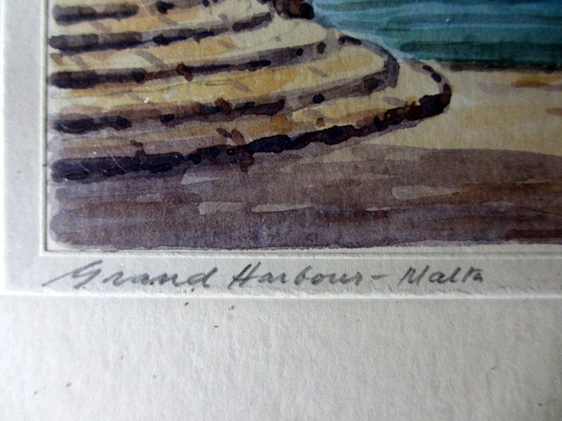 Grand Harbour from Customs House, watercolour, signed J. Galea Malta, c1950. Detail, title in handscript.