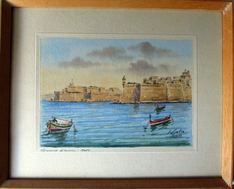 Grand Harbour Malta, watercolour, signed J. Galea Malta c1950.