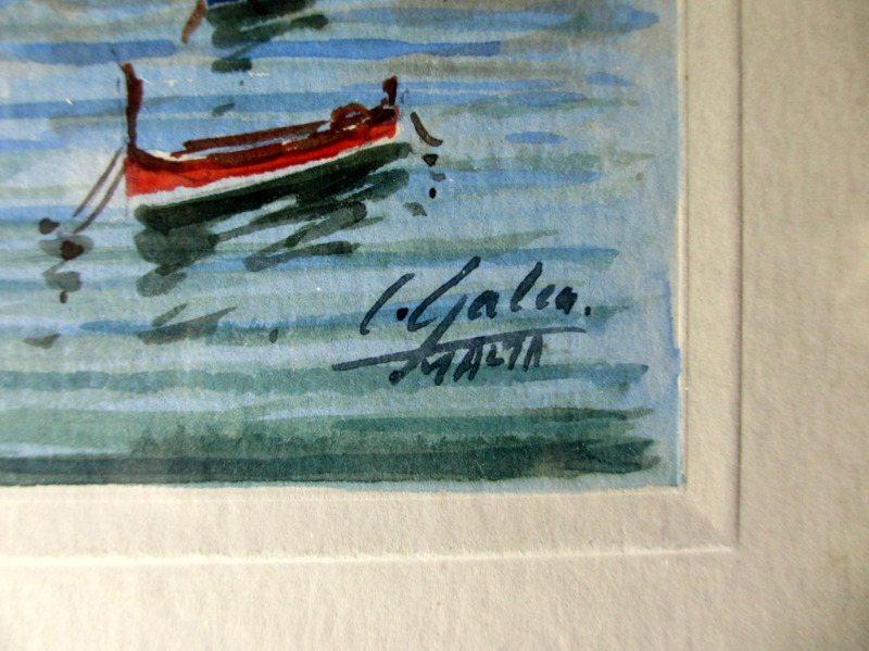 Grand Harbour Malta, watercolour, signed J. Galea Malta c1950. Signature.