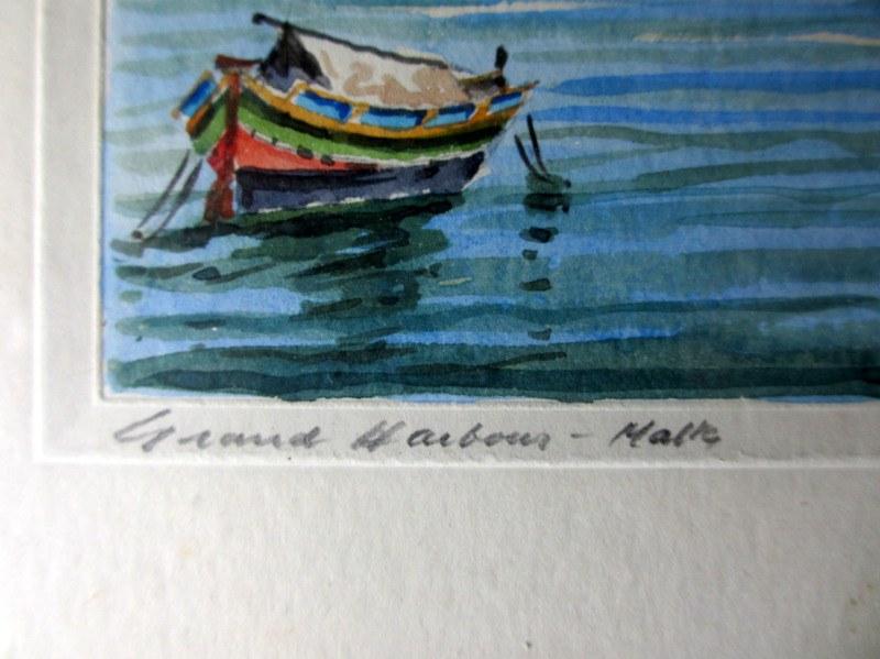 Grand Harbour Malta, watercolour, signed J. Galea Malta c1950. Detail, title in handscript.