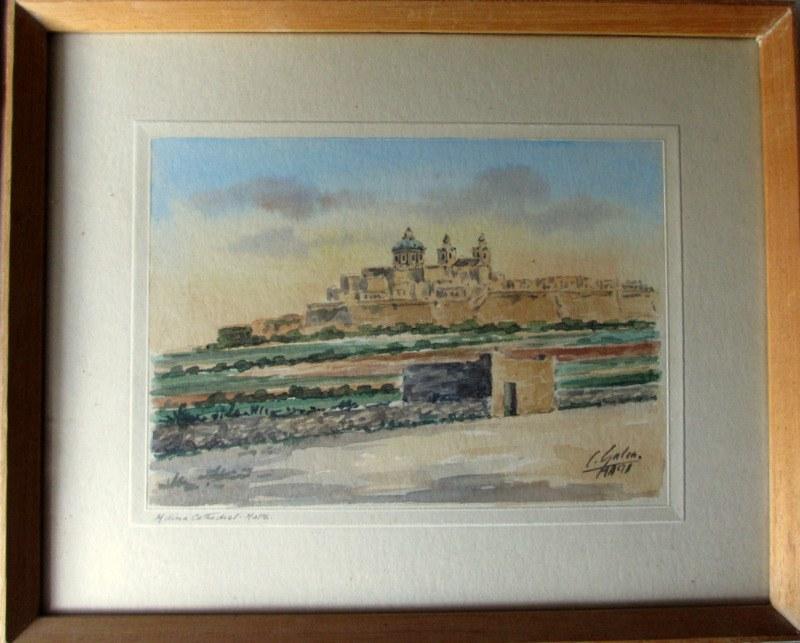 Mdina Cathedral Malta, watercolour, signed J. Galea Malta, c1950.