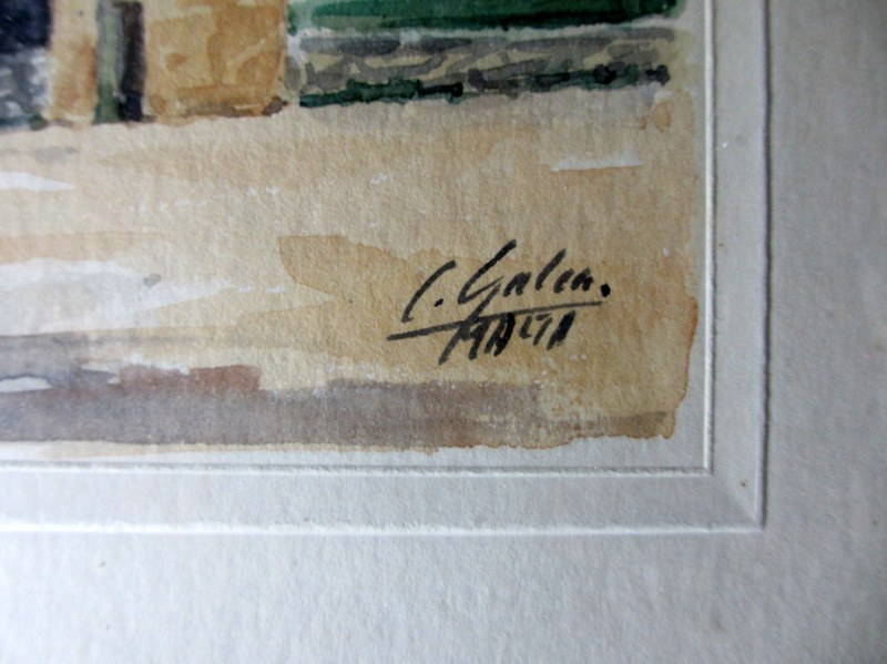 Mdina Cathedral Malta, watercolour, signed J. Galea Malta, c1950. Signature.
