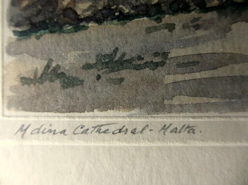 Mdina Cathedral Malta, watercolour, signed J. Galea Malta, c1950. Title in handscript.