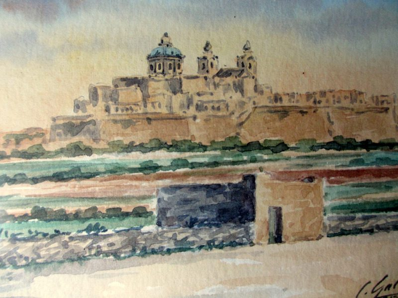 Mdina Cathedral Malta, watercolour, signed J. Galea Malta, c1950. Detail.