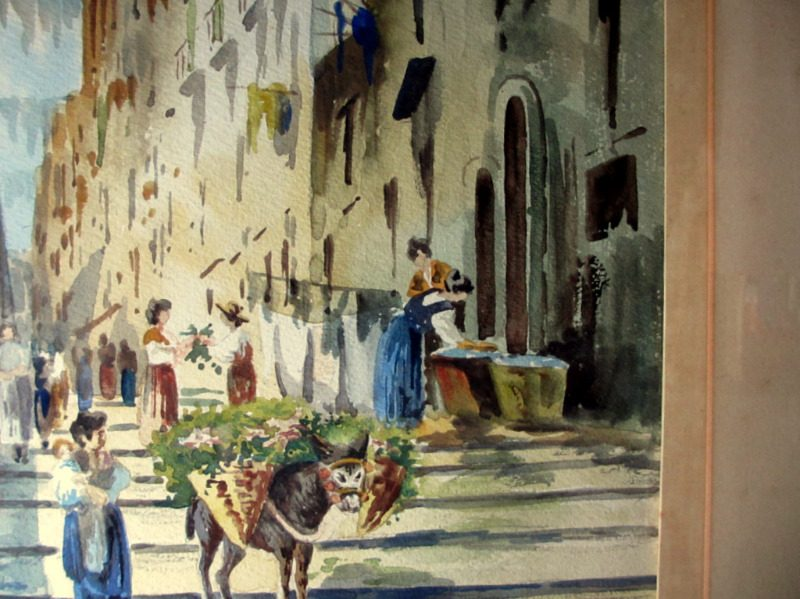 Neapolitan Street Scene with Donkey and Figures, watercolour, signed U. Gianni, c1890. Detail.