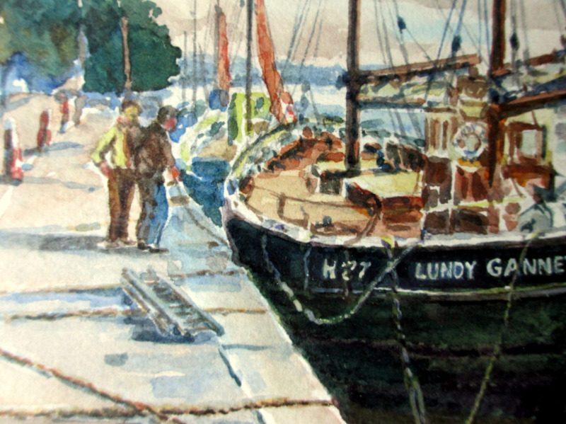 Fishing Boat Lundy Gannet H27, alongside Bideford Quay, watercolour, signed Doris E Luxton, c1960. Detail.