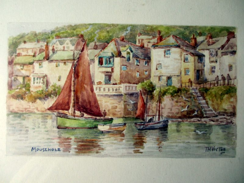 Mousehole, watercolour, signed TH Victor, c1960.