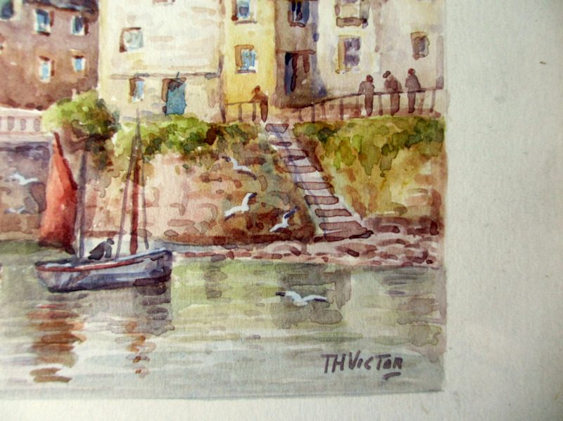 Mousehole, watercolour, signed TH Victor, c1960. Detail. Signature.