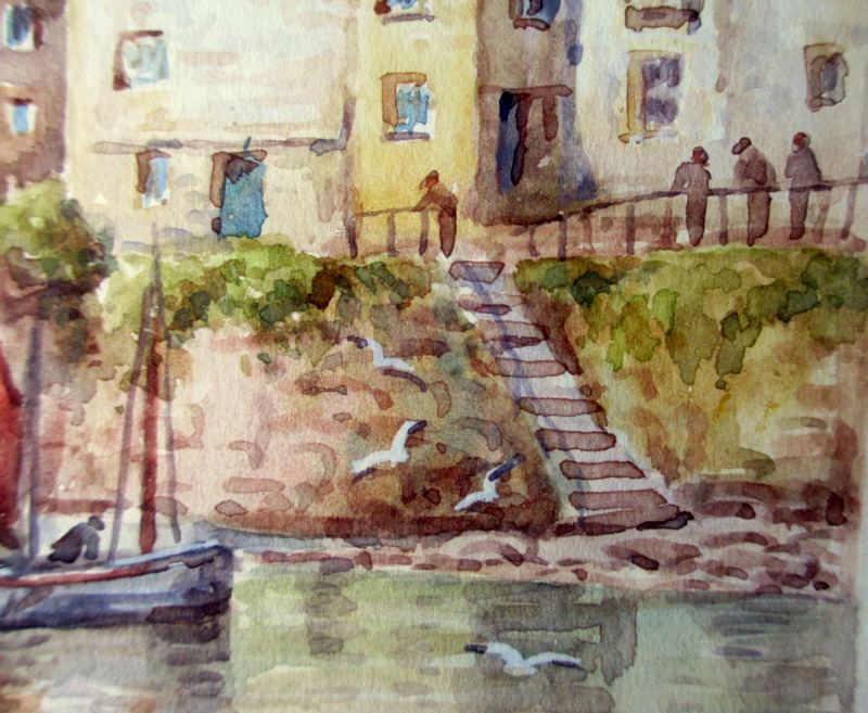 Mousehole, watercolour, signed TH Victor, c1960. Detail.