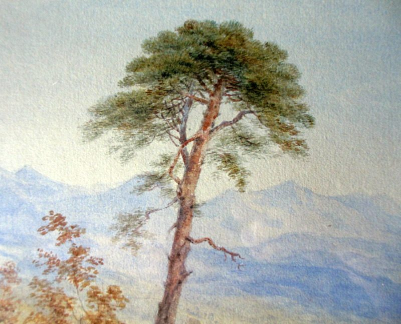 Amalfi Coastal View, Gulf of Salerno, watercolour, faintly signed HF. c1900. Detail.