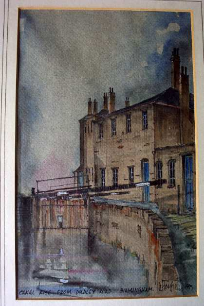 Canal Rise from Dudley Road Birmingham, by Laurance Hayfield 1985. SOLD 25.06.2014.