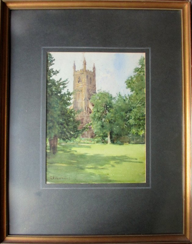 The Church at Cirencester, watercolour, signed GF Nicholls. c1920.