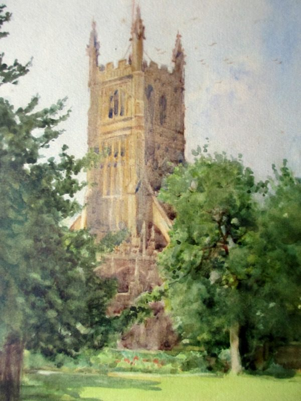 The Church at Cirencester, watercolour, signed GF Nicholls. c1920. Detail.