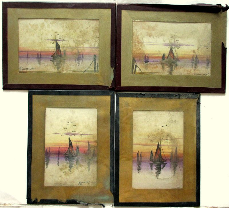 Estuary Scenes at Sunset with Sailing Boats, set of 4 watercolours, signed J.E. Bowers 1923.