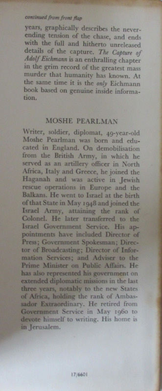 The Capture of Adolf Eichmann, Moshe Pearlman, 1961. 1st Edn. Back fold.