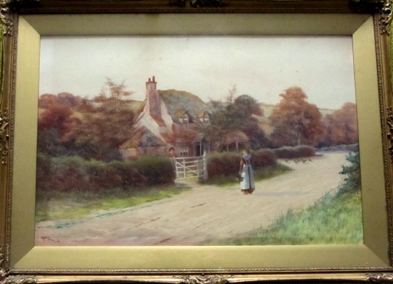 Conversation at the Cottage Gate, watercolour, signed George Oyston. c1906.