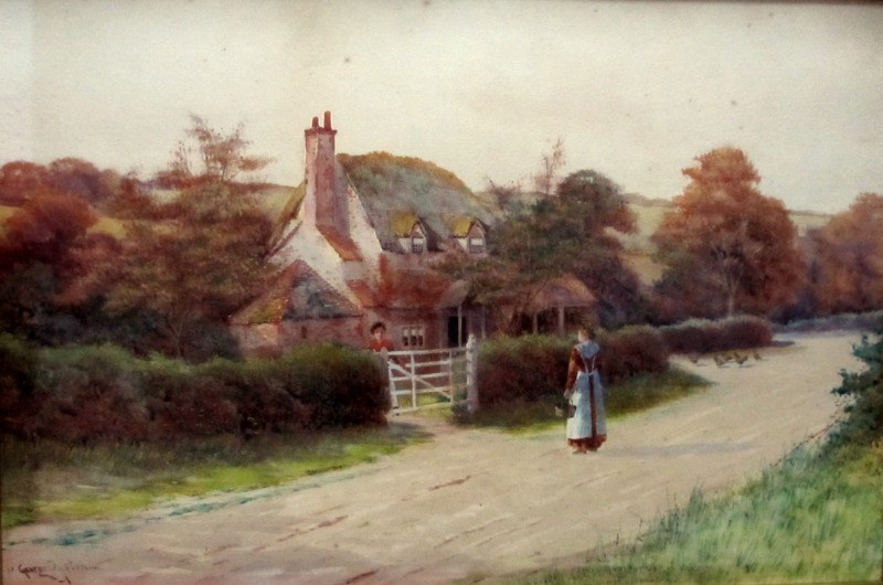 Conversation at the Cottage Gate, watercolour, signed George Oyston. c1906. Detail.