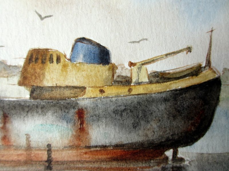 Trawler Ross Hawk aground near Cleethorpes Pier, watercolour, signed L. Newnam 1968. Detail.