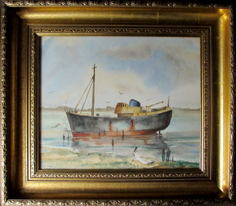 Trawler Ross Hawk aground near Cleethorpes Pier, watercolour, signed L. Newnam 1968.