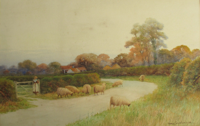 Near Sudbury Suffolk, watercolour, signed George Oyston, 1906.