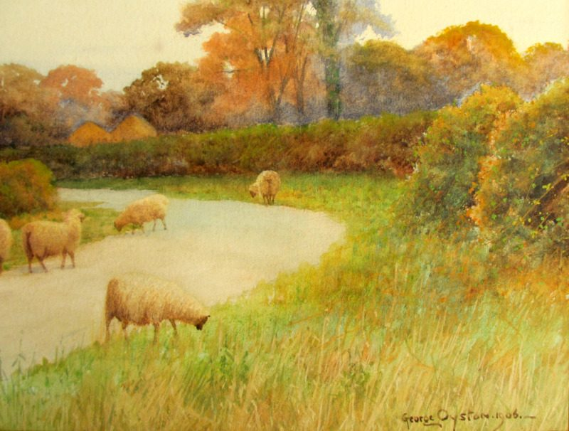 Near Sudbury Suffolk, watercolour, signed George Oyston, 1906. Detail.