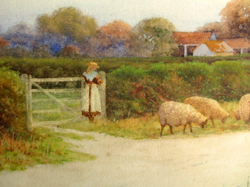 Near Sudbury Suffolk, watercolour, signed George Oyston, 1906. Detail.