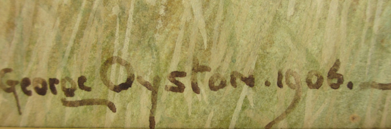 Near Sudbury Suffolk, watercolour, signed George Oyston, 1906. Detail. Signature.