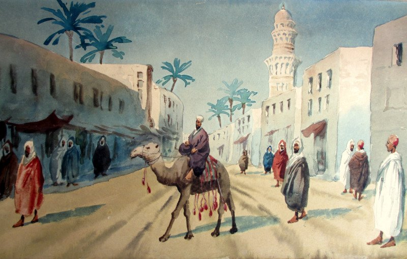 Egyptian Street Scene, watercolour, pasted to acid board, signed Giovanni Barbaro. c1900.
