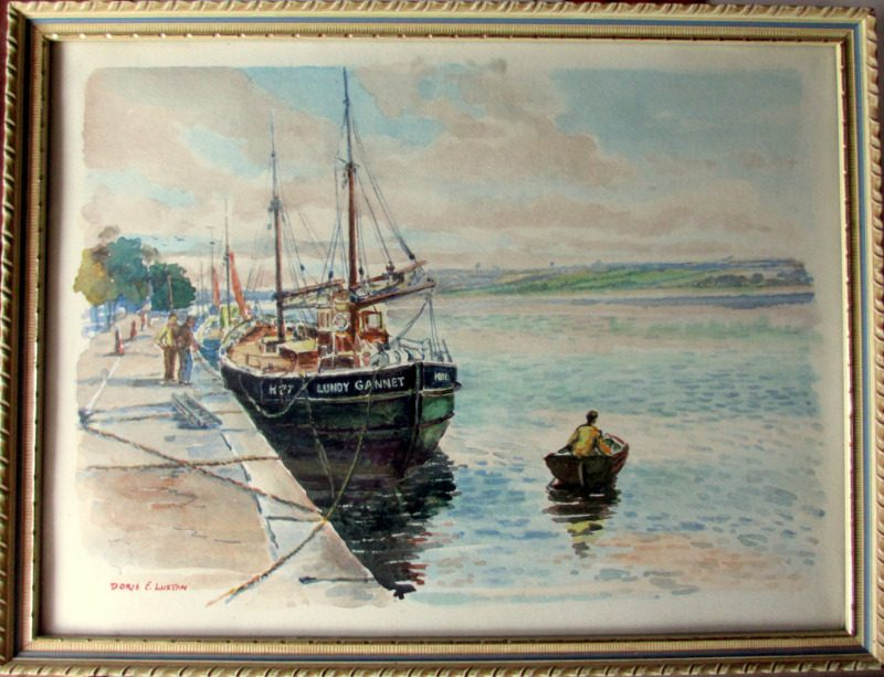 Fishing Boat Lundy Gannet H27, alongside Bideford Quay, watercolour, signed Doris E Luxton, c1960.