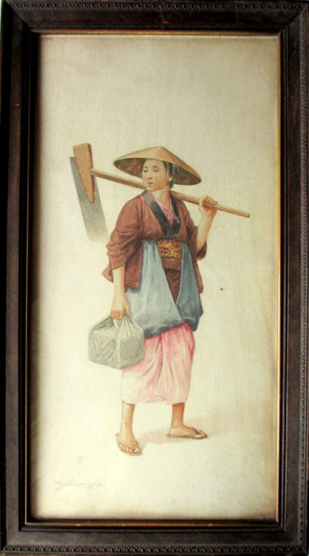 Female Farm Labourer, watercolour, signed T. Nakayama, c1930.