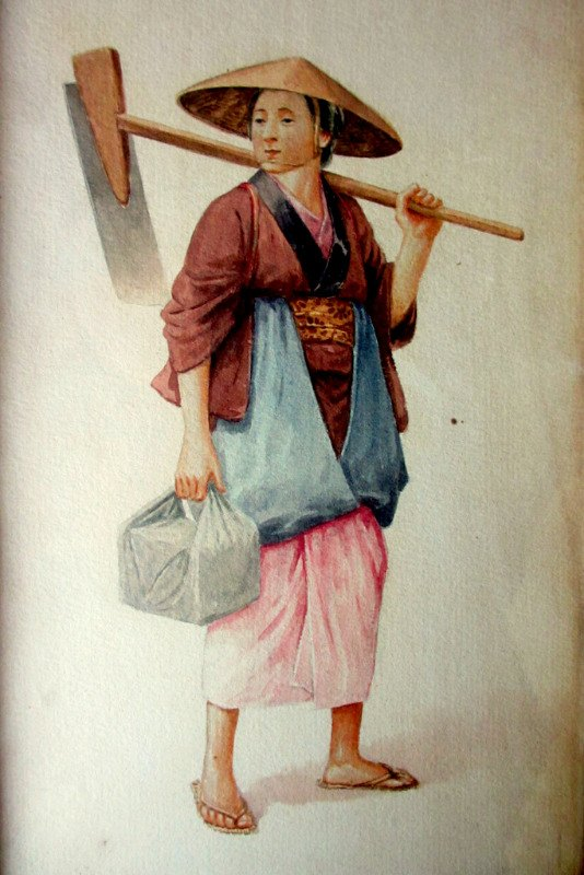 Female Farm Labourer, watercolour, signed T. Nakayama, c1930. Detail.