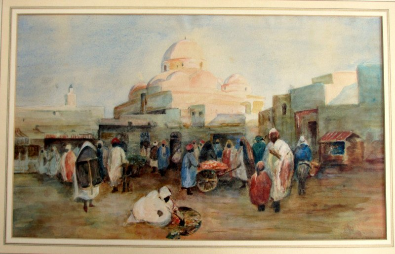 Tunis, Souk Scene, watercolour and gouache, R.G.T. Kelly. c1900.