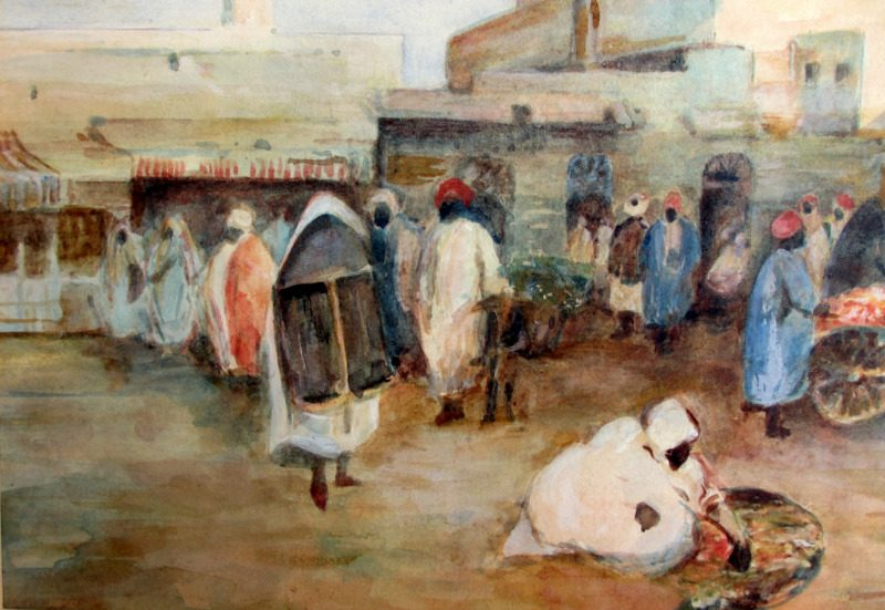 Tunis, Market Scene, watercolour and gouache, R.G.T. Kelly. c1900. Detail.