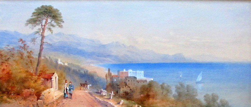 Amalfi Coastal View, Gulf of Salerno, watercolour, faintly signed HF. c1900.