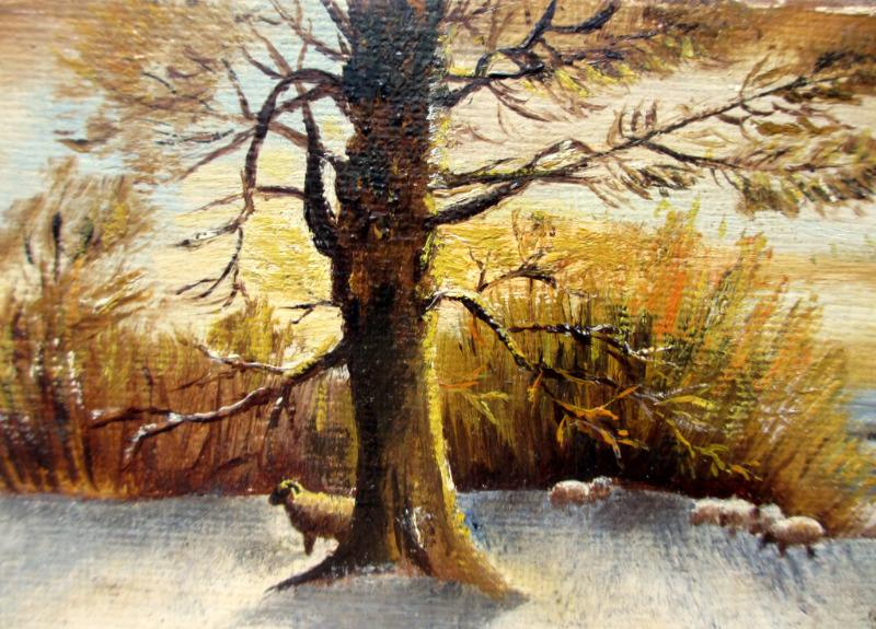A Winter Sunset, oil on Birchmore board, signed A. Allen 1920. Detail.