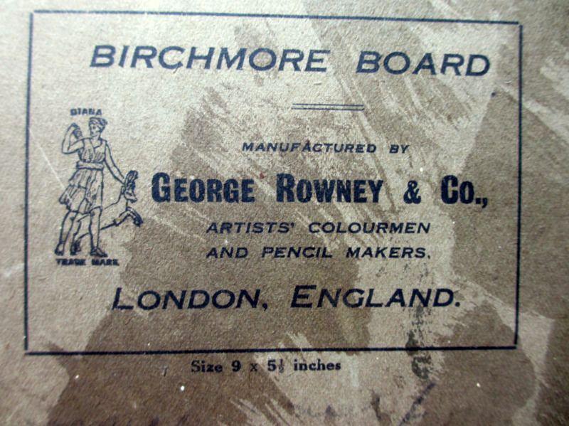 A Winter Sunset, oil on Birchmore board, signed A. Allen 1920. Detail. Board detail.