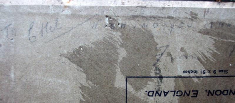 A Winter Sunset, oil on Birchmore board, signed A. Allen 1920. Detail. Board detail. Pencil script top edge.
