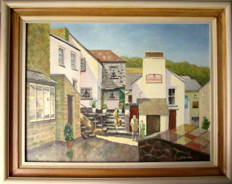 The Three Pilchards Pub and Smugglers Cottage, Polperro, oil on board, signed F.E. Kirton c1990.