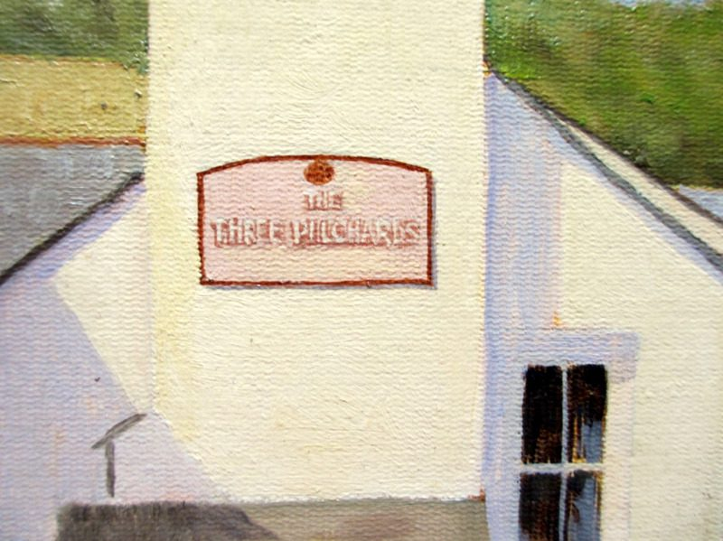 The Three Pilchards Pub and Smugglers Cottage, Polperro, oil on board, signed F.E. Kirton c1990. Detail.