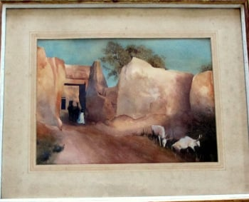 Kano Walls, Northern Nigeria, White Fulani, watercolour with gouache, signed G. Thornton Smith and monogram GTS. c1960.  SOLD  20.11.2014.
